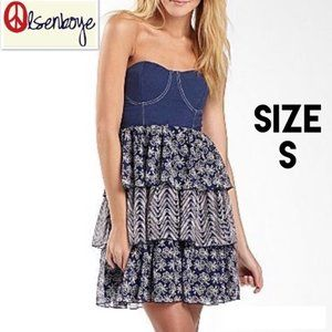 Olsenboye Strapless Bustier Dress with Layers  G38
